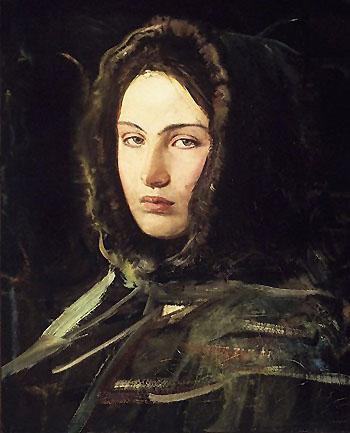 Girl in Fur Hood 1908 - Abbott Henderson Thayer reproduction oil painting