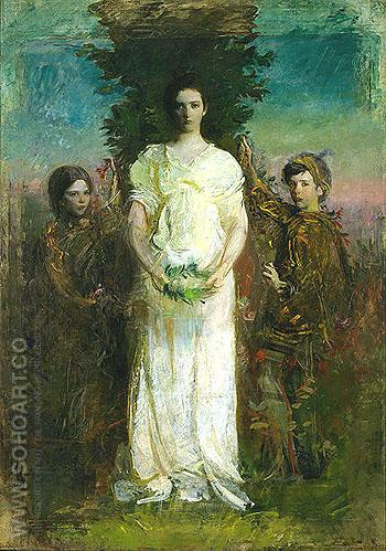 Mary Gerald and Gladys 1897 - Abbott Henderson Thayer reproduction oil painting
