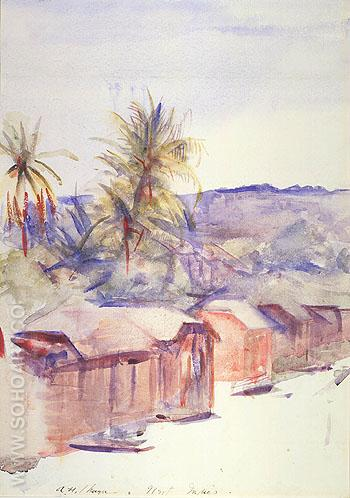 Village Street Dominica - Abbott Henderson Thayer reproduction oil painting