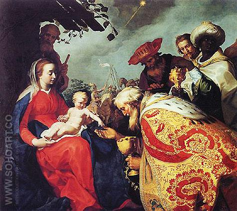 Adoration of Magi I c1623 - Abraham Bloemaert reproduction oil painting