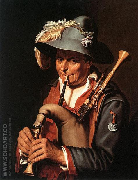 The Bagpiper - Abraham Bloemaert reproduction oil painting