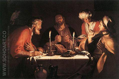 The Emmaus Disciples 1622 - Abraham Bloemaert reproduction oil painting