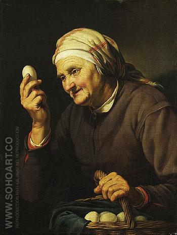 Woman Selling Eggs 1632 - Abraham Bloemaert reproduction oil painting