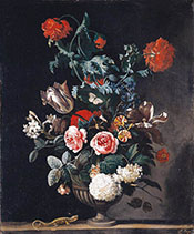 Flowers in a Stone Vase 1670 - Abraham Jansz Begeyn reproduction oil painting