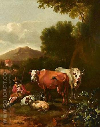 An Italianate Landscape with a Herdsman and His Cattle Resting near a Tree - Abraham Jansz Begeyn reproduction oil painting