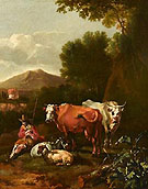 An Italianate Landscape with a Herdsman and His Cattle Resting near a Tree - Abraham Jansz Begeyn