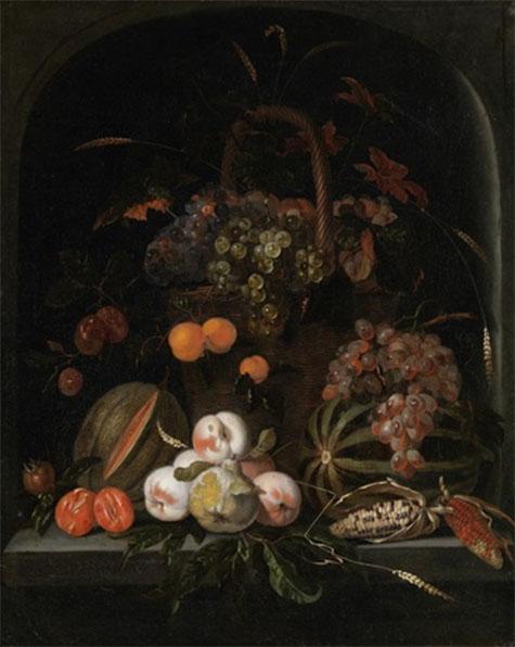 Stillenben mit Aprikosen - Abraham Mignon reproduction oil painting