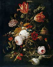 Flowers in a Crystal Vase - Abraham Mignon reproduction oil painting