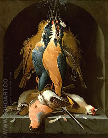 Still Life of Birds - Abraham Mignon reproduction oil painting