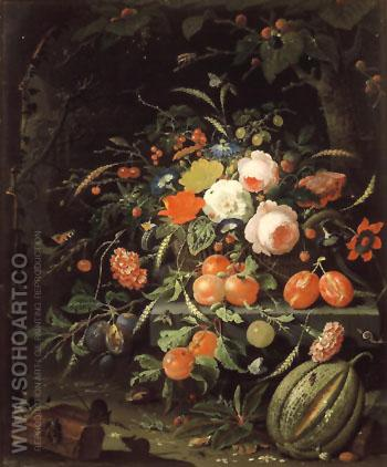 Still Life with Flowers and Fruit c1660 - Abraham Mignon reproduction oil painting