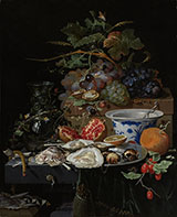 Still Life with Fruit, Oysters, and a Porcelain Bowl 1679 - Abraham Mignon reproduction oil painting