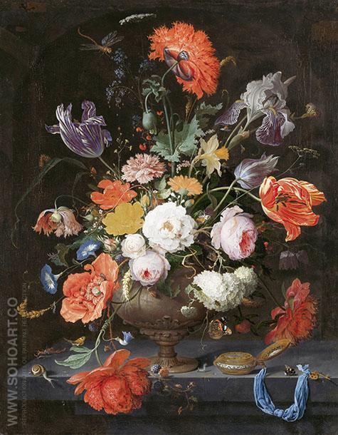Still-life with flowers and a Watch 1679 - Abraham Mignon reproduction oil painting