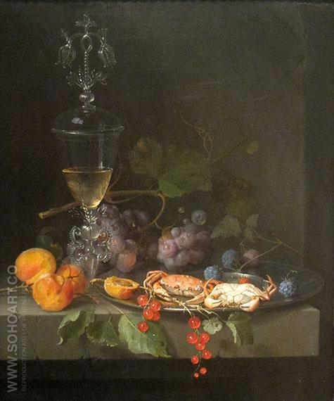 Still Life with Crabs on a Pewter Plate c1669 - Abraham Mignon reproduction oil painting