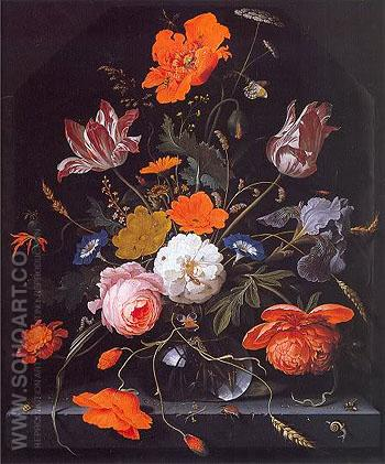 A Still Life of Flowers I - Abraham Mignon reproduction oil painting