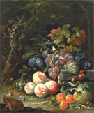 Still Life with Fruit Foliage and Insects 1669 - Abraham Mignon