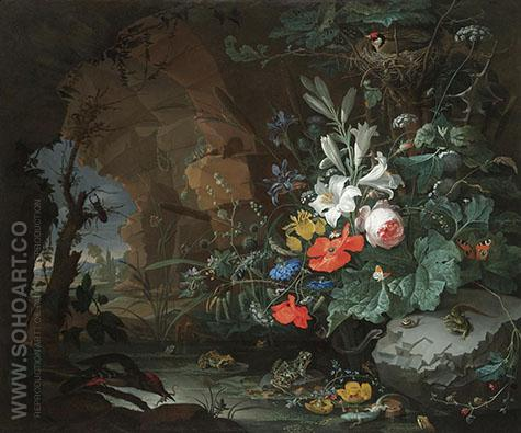 The Interior of a Grotto with a Rock - Abraham Mignon reproduction oil painting