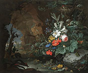 The Interior of a Grotto with a Rock - Abraham Mignon