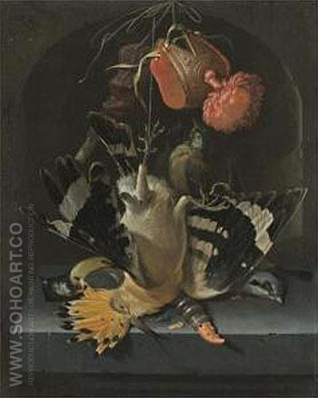 Still Life with a Hoopoe a Great Tit - Abraham Mignon reproduction oil painting