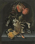 Still Life with a Hoopoe a Great Tit - Abraham Mignon