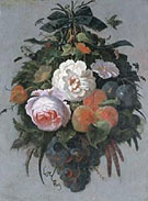 A Swag of Fruit and Flowers Hanging from a Nail - Abraham Mignon