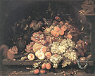 Fruit Still Life with Squirrel - Abraham Mignon reproduction oil painting