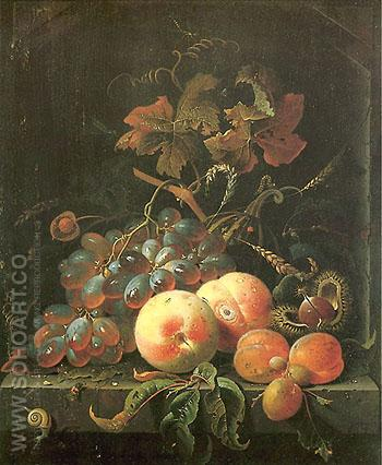 Still Life with Fruits 1660 - Abraham Mignon reproduction oil painting