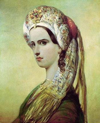 Portrait of Rachel - Achille Deveria reproduction oil painting