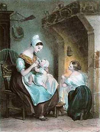 The Wetnurse - Achille Deveria reproduction oil painting