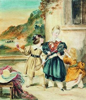 Enfants Jouant au Badmongton - Achille Deveria reproduction oil painting