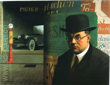 Self Portrait before an Advertisement Pillar 1926 - George Scholz reproduction oil painting