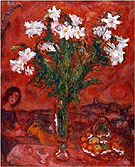 White Flowers on Red 1975 - Marc Chagall