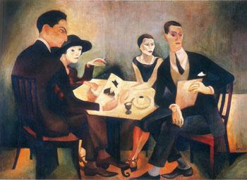 Self Portrait in a Group 1925 - Jose de Almada Negreiros reproduction oil painting