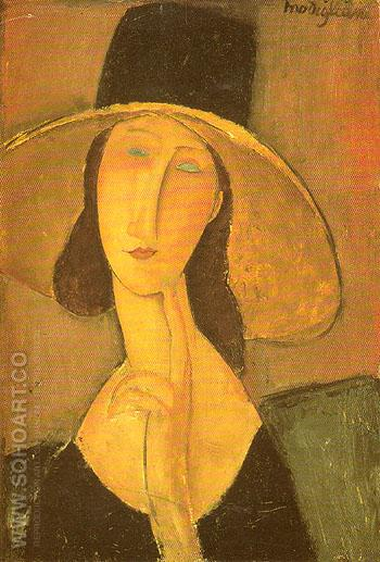 Jeanne in Straw Hat 1917 - Amedeo Modigliani reproduction oil painting