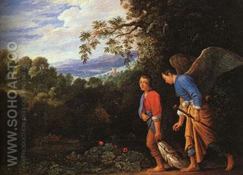 Tobias and Raphael returning with Fish - Adam Elsheimer reproduction oil painting