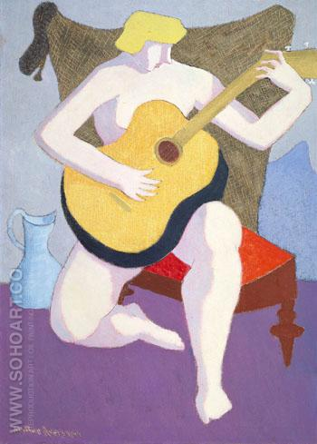 Nude with Guitar 1947 - Milton Avery reproduction oil painting