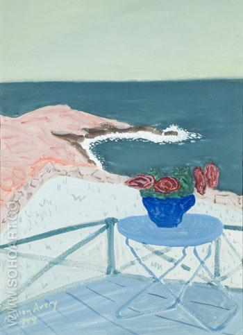 Red Flowers on a Terrace 1944 - Milton Avery reproduction oil painting
