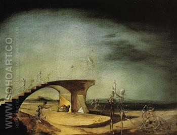 The Broken Bridge and the Dream 1945 - Salvador Dali reproduction oil painting