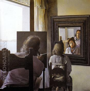 Dali From Behind Painting Gala from behind Who is Perpetuated in Six Virtual Corneas Which are Temporarily Reflected in Six Real Mirrors c1972 - Salvador Dali reproduction oil painting