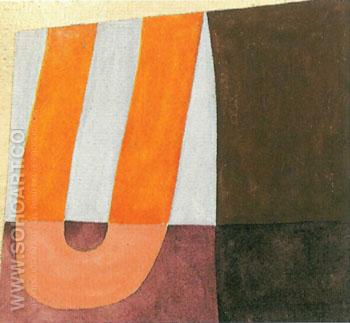 Komposition with U Form 1918 - Sophie Taeuber Arp reproduction oil painting