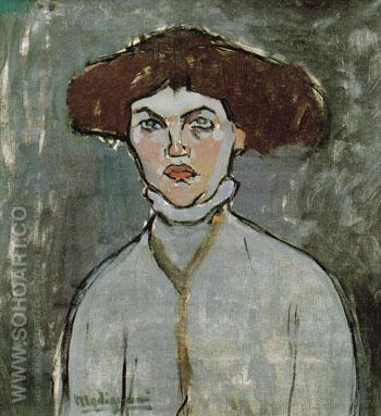 Head of a Young Woman 1908 - Amedeo Modigliani reproduction oil painting