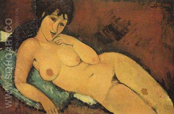 Nude on a Blue Cushion 1917 - Amedeo Modigliani reproduction oil painting