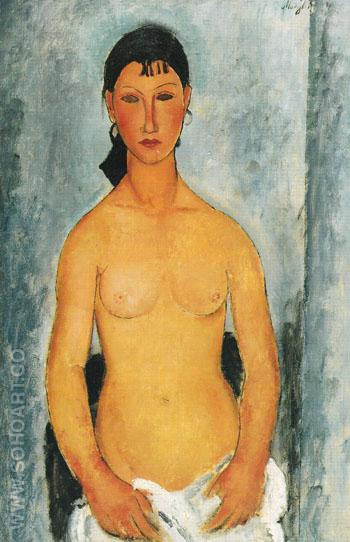 Standing Nude Elvira 1918 - Amedeo Modigliani reproduction oil painting