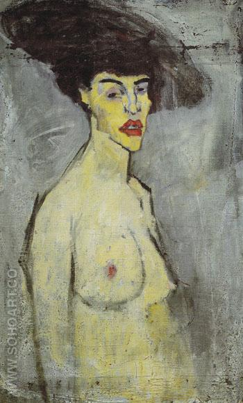 Female Nude with Hat 1907 - Amedeo Modigliani reproduction oil painting