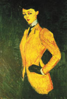 Woman in Yellow Jacket The Amazon 1909 - Amedeo Modigliani reproduction oil painting