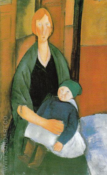 Seated Woman with Child 1919 - Amedeo Modigliani reproduction oil painting
