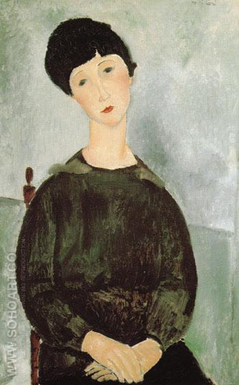Young Girl 1918 - Amedeo Modigliani reproduction oil painting