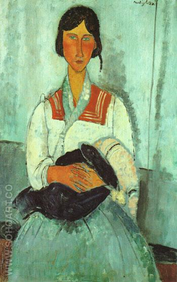 Gypsy Woman with Child 1919 - Amedeo Modigliani reproduction oil painting
