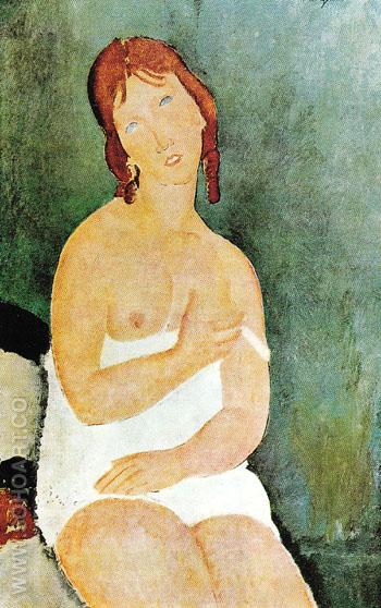 Red Haired Young Woman in Chemise 1918 - Amedeo Modigliani reproduction oil painting