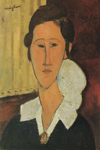 Portrait of Anna Zborovska 1917 - Amedeo Modigliani reproduction oil painting