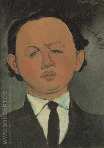 Portrait of Oscar Miestchaninoff Mechan 1917 - Amedeo Modigliani reproduction oil painting